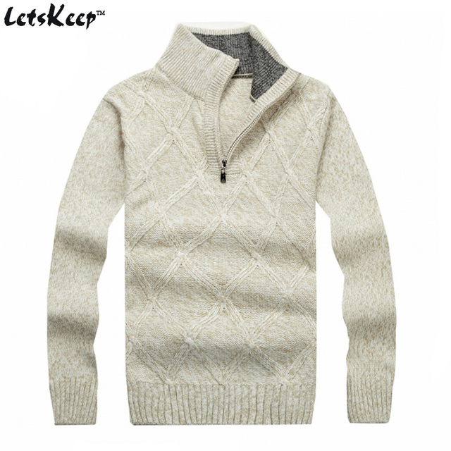 New LetsKeep 2016 winter pullover sweater men solid stand collar wool mens sweater thick plaid knitted sweater Plus size ,MA268