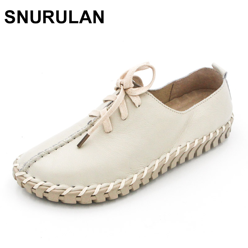 SNURULAN Spring and autumn new fashion hand-sewn genuine leather Lace shoes women genuine leather flats womens shoes flats women genuine leather