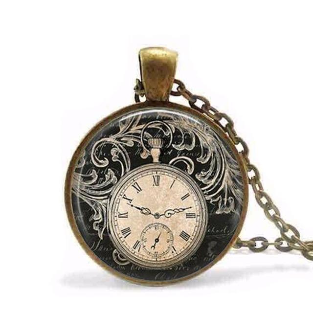 Steampunk vintage clock necklace round clock pocket watch pendant steampunk vintage clock necklace round clock pocket watch pendant art photo pendant glass dome clock pendant aloadofball Image collections