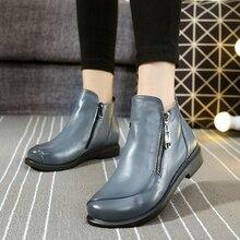 ใหม่ฤดูใบไม้ร่วงและฤดูหนาวสั้นส้นแบนรองเท้าหนังแท้รองเท้าMartinด้านซิปผู้หญิงรองเท้าข้อเท้าขนาดบวก41-43 ZK3.5