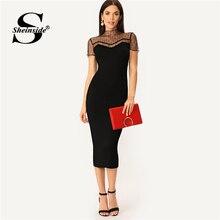 63977b1b419 Sheinside noir rayé maille empiècement robe crayon femmes laitue garniture  trou de serrure retour élégant robes Midi 2019 moulan.