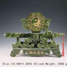 15.56 inch/ south China Taiwan jade dragon manual sculpture, bagua sword