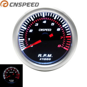 "CNSPEED Auto Car Tachometer Tacho Gauge 0~8000 RPM Meter 2"" 52mm Universal Car Motor White Led Meter Pointer RPM 12V Gasoline"