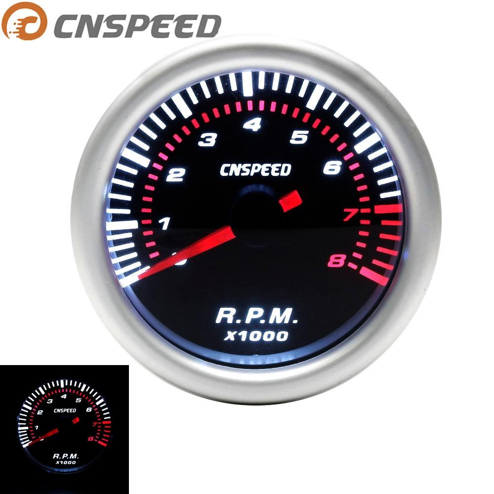 "Tacómetro automático CNSPEED tacómetro de coche medidor de tacómetro 0 ~ 8000 RPM Metro 2 ""52mm Universal coche blanco Led medidor puntero RPM 12V gasolina"