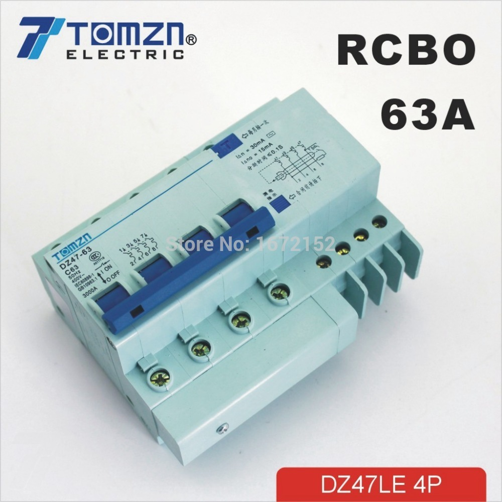 4P 63A DZ47LE63A 400V~ C type Residual current Circuit breaker with over current and Leakage protection RCBO 400 amp 3 pole cm1 type moulded case type circuit breaker mccb