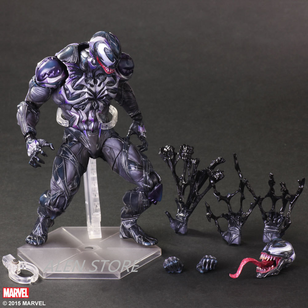 ALEN Spider Man Action Figure Venom Spider Collection Model PLAY ARTS Spider-Man Venom PVC Action Figure Play Arts Kai Venom Toy wvw 18cm hot sale movie hero spider man venom play arts model pvc toy action figure decoration for collection gift