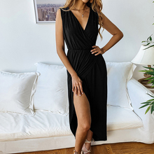 Women's Sexy Sleeveless Deep V Neck Cross Wrap Dress Split Front Long Maxi Dress cross wrap front rib knit bardot tee