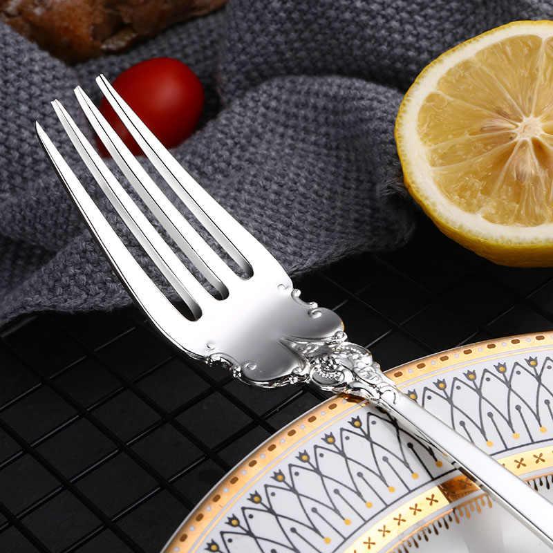 24 pçs/set Luxo Prata Faqueiro Conjunto de Talheres Talheres Talheres Jantar Faca Garfo Colher Louça Transporte da gota