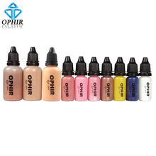 OPHIR 10 Bottles Airbrush Makeup Inks Set with 3 Colors Air Foundation 2x Blush 5x Eyeshadow for Face Paint Salon