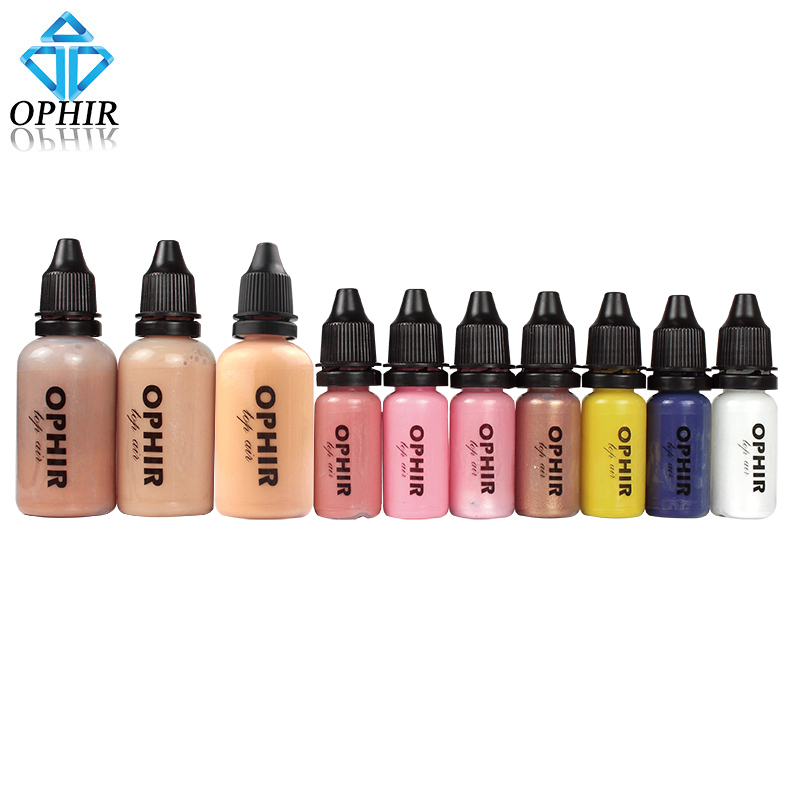OPHIR 10 Flessen Airbrush Make Up Inkt Set met 3 Kleuren Air Foundation 2x Air Blush 5x Air Oogschaduw voor Gezicht verf Make Salon