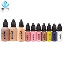 OPHIR Juego de tintas de maquillaje con aerógrafo, 10 botellas, 3 colores, Air Foundation, 2x Air Blush 5x Air sombra de ojos para pintura facial, salón de maquillaje