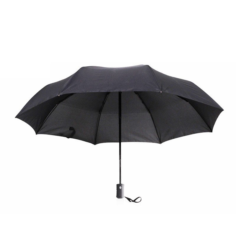 Men Black 8 Rib Strong Automatic Umbrellas Three Folding Umbrella Rain Wind Resistant Hot Sale