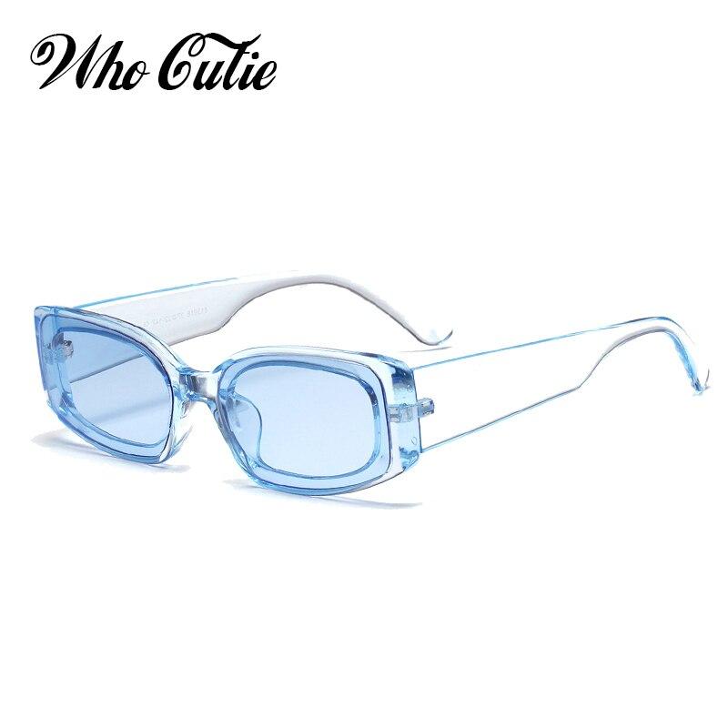 QUE GRACINHA 2018 Azul Óculos De Sol Retros Mulheres Marca Designer  Arrojado Retângulo Quadro Estreito 90 3ebfc96d20