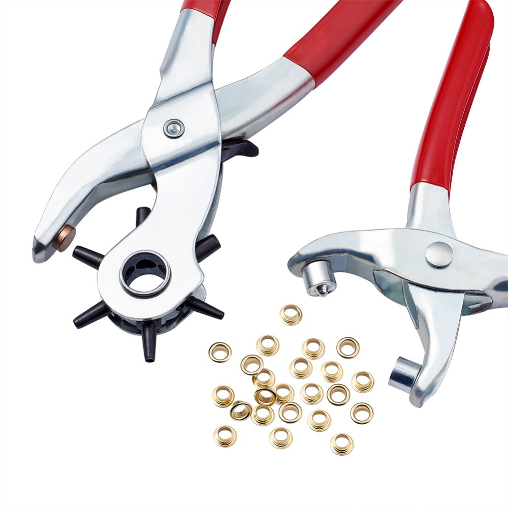 1Set 45# Steel Punch Pliers Tools Sets Eyelet Pliers And Iron Findings Suitable For Leather Punch Red 335x110x25mm