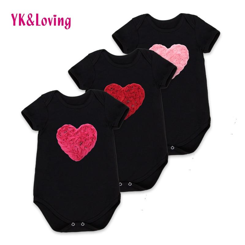 Love Heart Baby Bodysuit Black Cotton Short Jumpsuit Infant Girl Birthday Clothing Lovely Newborn Costumes 2017 Summer R127S