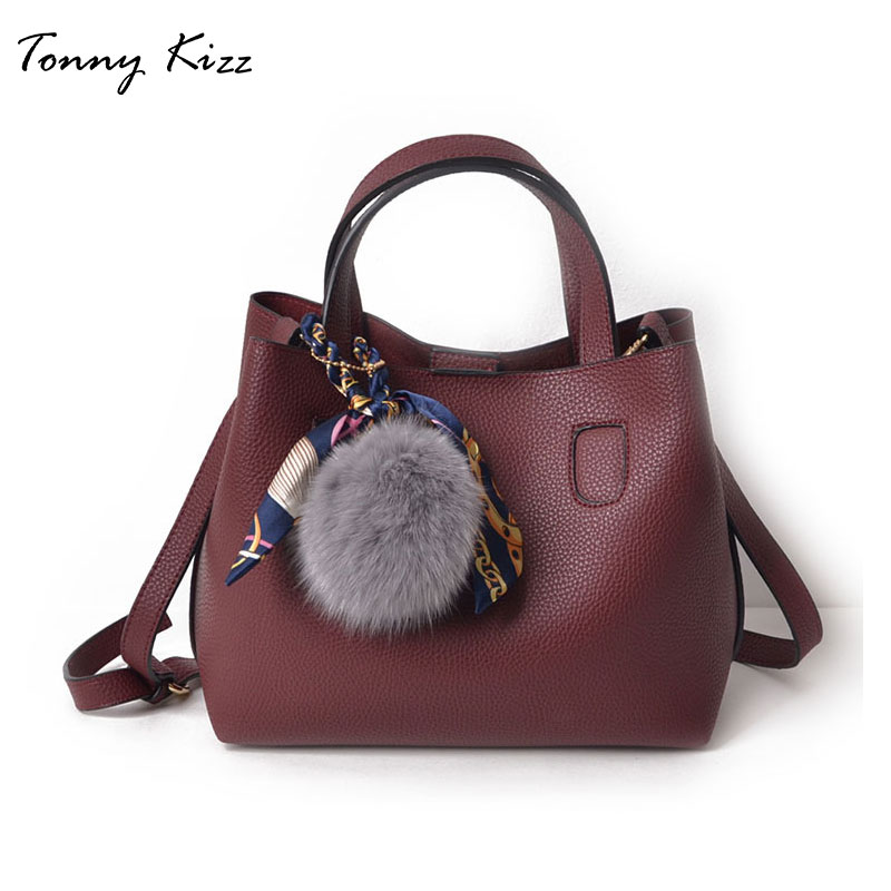 2pcs casual handbags for women shoulder bags large capacity female composite tote soft leather crossbody with hairball