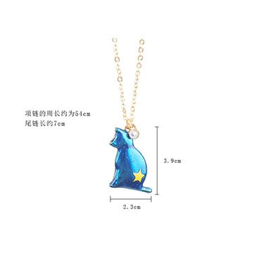 1PC Fashion Jewelry Enamel Cat Pandent Necklaces For Women Gold Color Star Sweater Necklace Bohemian Chain N921 2