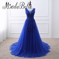 Modabelle Modest Dubai Royal Blue Evening Dress Plus Size Lace Wine Red Pink Tulle Party Long