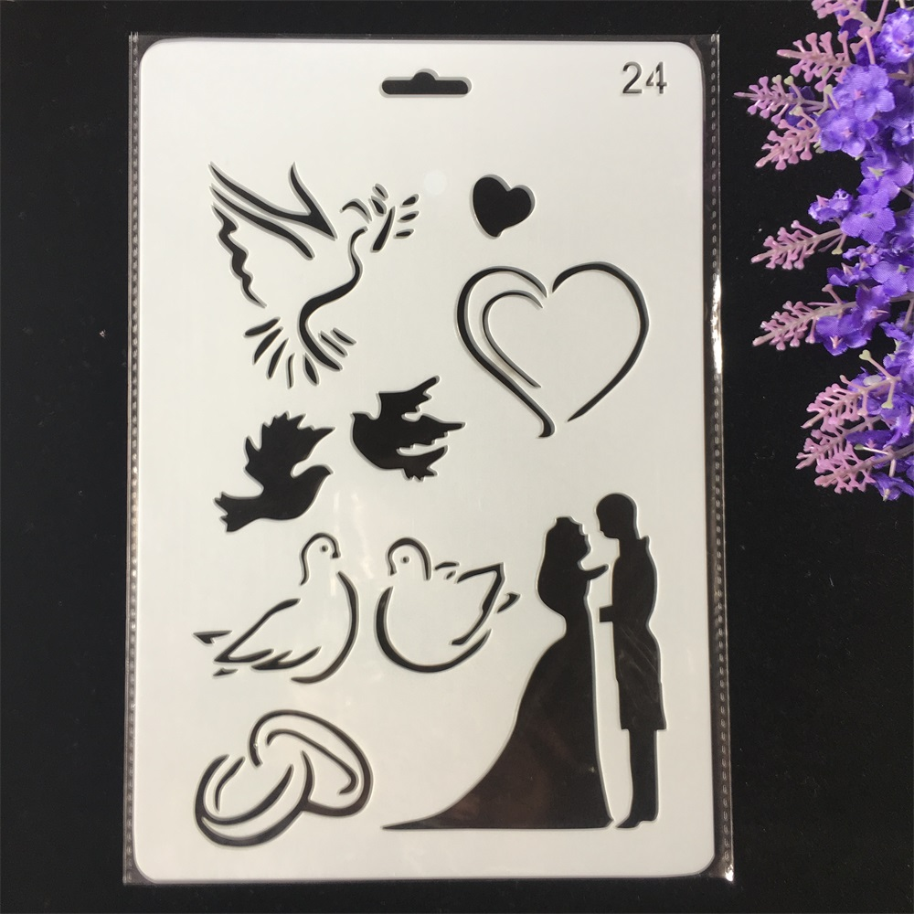 Hot 26cm Wedding Couple Dove Heart DIY Craft Layering Stencils Painting Scrapbooking Stamping Embossing Album Card Template