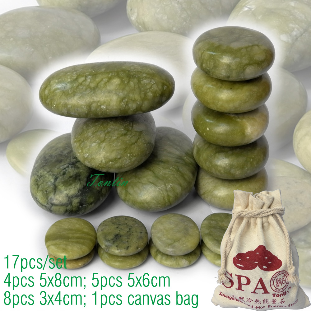 new 17pcs/set green jade body massage hot stone SPA with canvas CE and ROHS 4pcs(5x8)+5pcs(5x6)+8