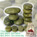 new 17pcs/set green jade body massage hot stone SPA with canvas CE and ROHS 4pcs(5x8)+5pcs(5x6)+8