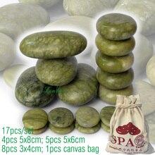 Новый 17 шт./компл. зеленый нефрит массаж тела горячими камнями СПА с холста CE and ROHS 4 шт. (5×8) + 5 шт. (5×6) + 8