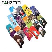 SANZETTI 5 คู่/ล็อตผู้ชายที่มีสีสันผ้าฝ้ายที่มีสีสัน Van Gogh ภาพวาดถุงเท้า Casual Funny Novelty PARTY Happy ถุงเท้า