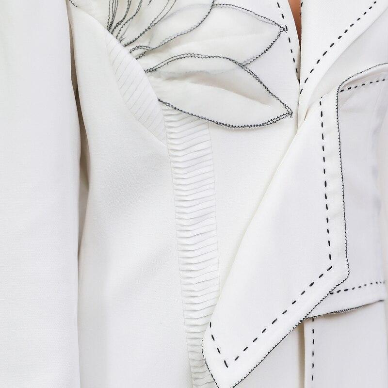 Gabardina F386 Femmes Blanc Trench Grande coat Sobretudo 5xl En Long Dames Taille Tunique Voa Piste Broderie Pardessus 3d Soie Lourde UwHWqxR8