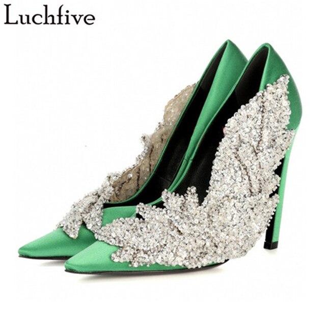 Luchfive Runway Rhinestone Women Party Pumps Silk Pointed Toe Stiletto high  Heels Elegant Lady Crystal flower Wedding Shoes 060eadda8349