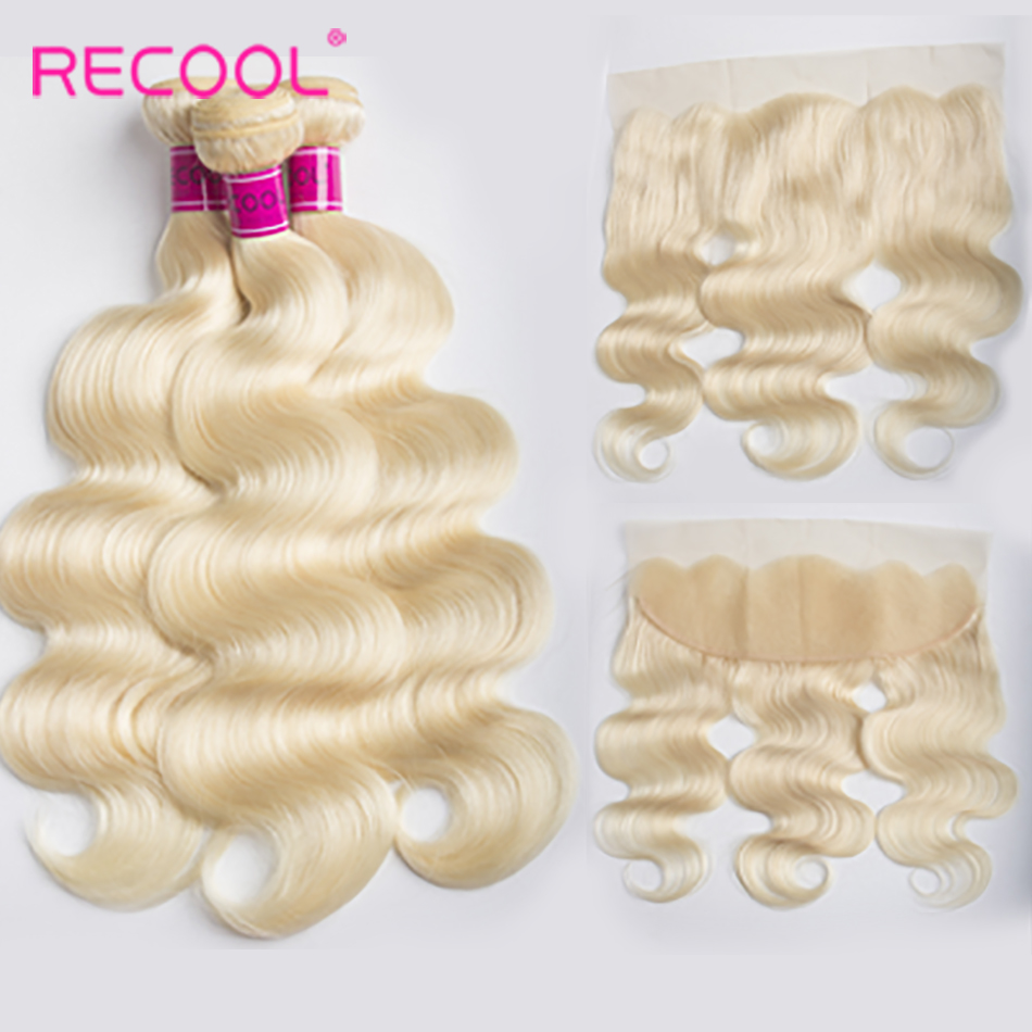 Recool Hair 613 Bundles With Frontal 100 Brazilian Body Wave With Closure Honey Blonde Remy Human