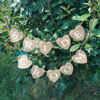 Burlap Garland Bunting Banner MR MRS BRIDE GROOM Photo Props Chair Signs Photo Booth Rustic Wedding