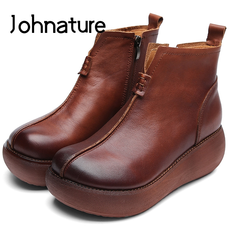 Johnature 2019 New Spring Autumn Genuine Leather Round Toe Retro Casual Fashion Zipper Platform Women Shoes