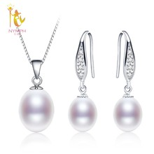 NYMPH Pearl Jewelry Set Natural Fresh Water Pearl Necklace Pendant Earrings For Wedding Party Gift Women[tz1032](China)