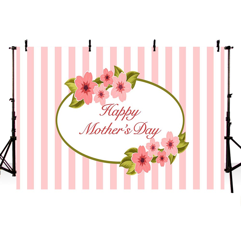 Customized Mothers Day Vinyl Photography Background Pink Stripes
