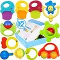 10 pçs/set chocalhos de brinquedo do bebê materiais de segurança pode morder 0-2 anos de idade presente do bebê recém-nascido infantil mordedor sineta brinquedos do chocalho do bebê
