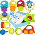 10pcs/set baby rattles toy safety materials can bite 0-2 years old newborn baby gift infant teether handbell baby rattle toys