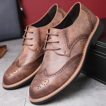 Merkmak New 2018 Men Dress Shoes Formal Wedding Genuine Leather Shoes Retro Brogue Business Office Men's Flats Oxfords For Men
