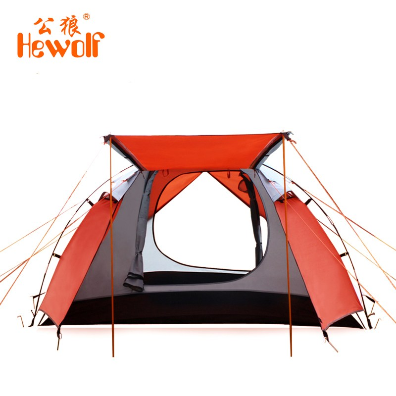 Hewolf Outdoor 4-5 people Tent 210T polyester Waterproof Aluminum Rod Camping Tents 4 Season winfproof Double Layers tent outdoor double layer 10 14 persons camping holiday arbor tent sun canopy canopy tent