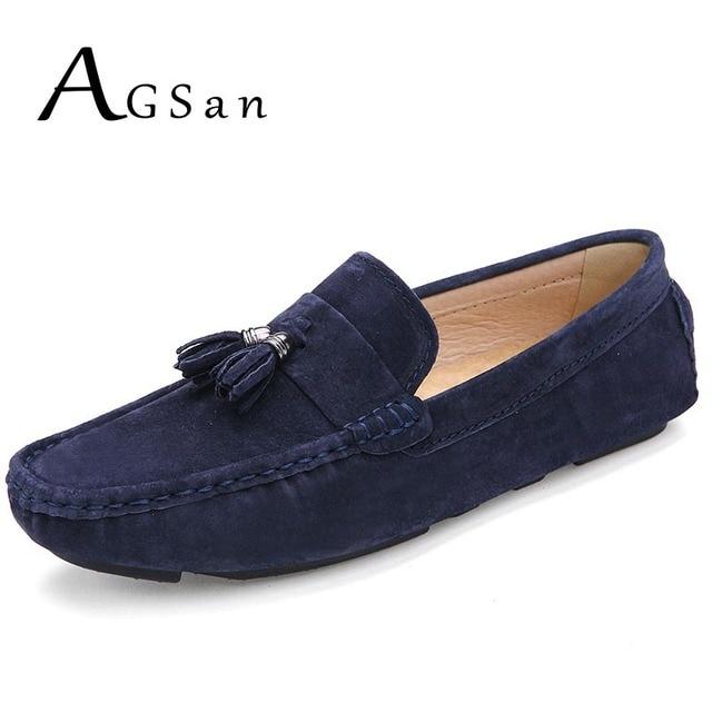 AGSan borla mocasines para hombres suede mocasines azul Borgoña lujo mocasines zapatos de marca 2017 classic mens conducción zapatos tamaño 9,5