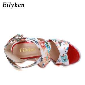 Image 5 - Eilyken 夏のファッションウェッジプラットフォーム女性のサンダルの靴バックルストラップシルクプリントセクシーな女性パーティーカジュアルサンダル靴