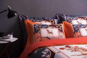 Image 2 - 2019 Nuovi di Lusso Europeo Da Letto In Cotone di Modo Semplice di Stile a Cavallo Copripiumino Copriletto Arancione Set di Biancheria Da Letto