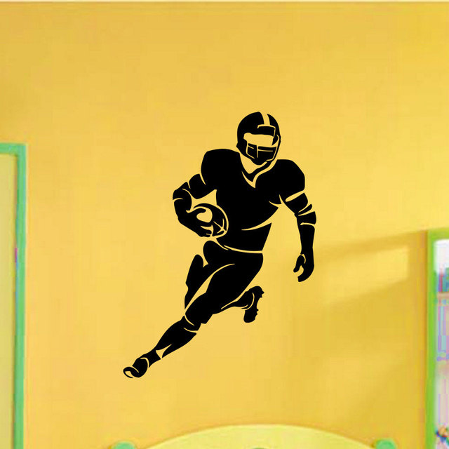 Rugby Player Running Pattern Special Wall Decals Home Livingroom Cool Handsome Decor Vinyl Wall Mural Man Rugby Wallpaper W-483