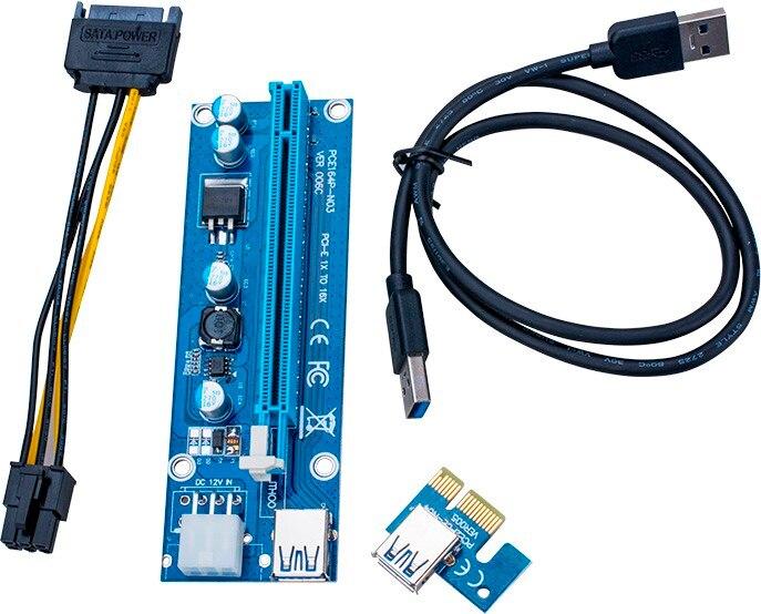 Ver 006c pci-e PCI E Экспресс 1X к 16x Riser Card + USB 3.0 удлинитель Кабель SATA 15 Булавки 6 булавки Мощность кабель 60 см для добычи Bitcoin