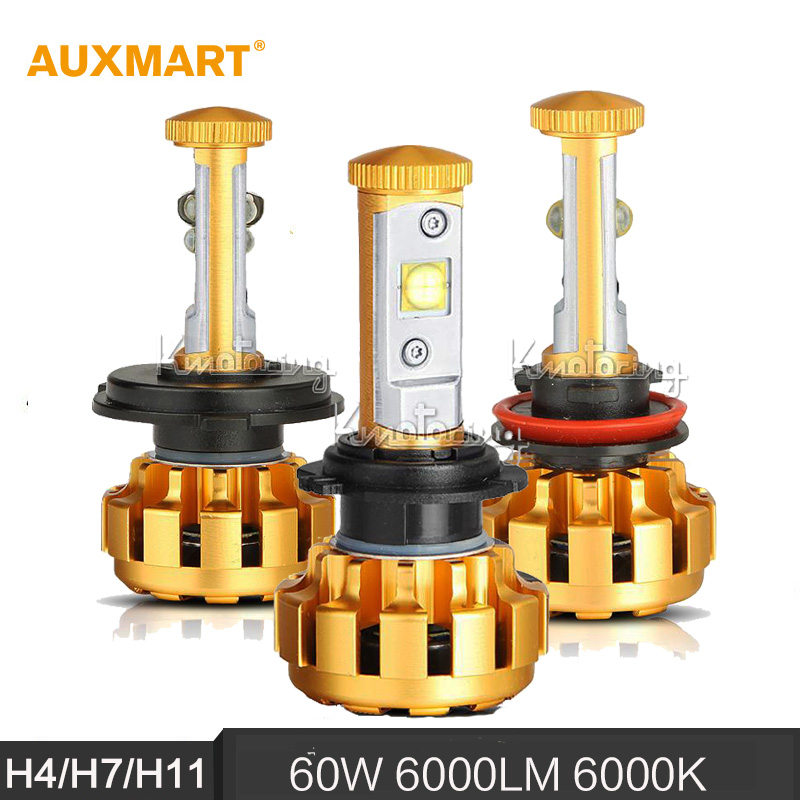 Auxmart H4 H7 H11 60W 6000LM 6000K Car LED Headlights Hi Lo Single Beam Fog Lamps
