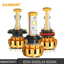 Auxmart H4/H7/H11 60 W 6000LM 6000 K Coche LED Faros Hi-lo/Haz Único Lámparas de la niebla Para Ford Toyota Audi BMW Honda Nissan VW Lada