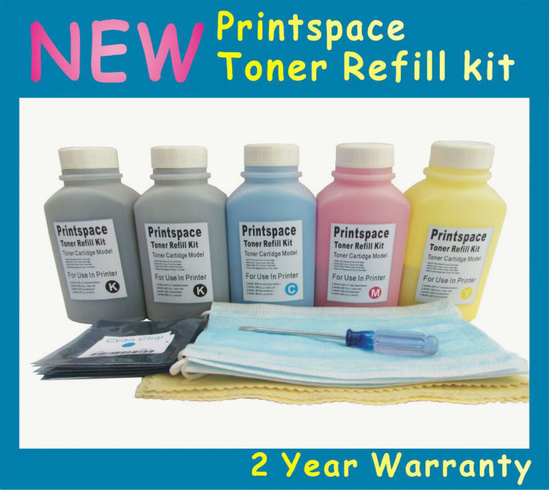ФОТО 5x NON-OEM Toner Refill Kit + Chips Compatible For OKI C801 C801N C821 C821N,44643001 44643002 44643003 44643004 2BK+CMY