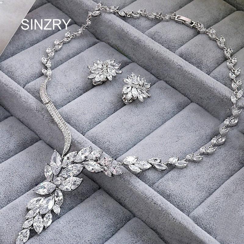 SINZRY new bridal jewelry Clear white cut cubic zircon flower luxury wedding chokers necklaces earring jewelry set women