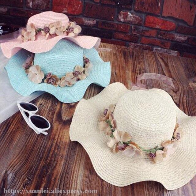 2017new женщина sesside hat мода играть в соломенной шляпе и красоты шляпа Солнца пляж цветы луки волны пляж шляпы, шапки
