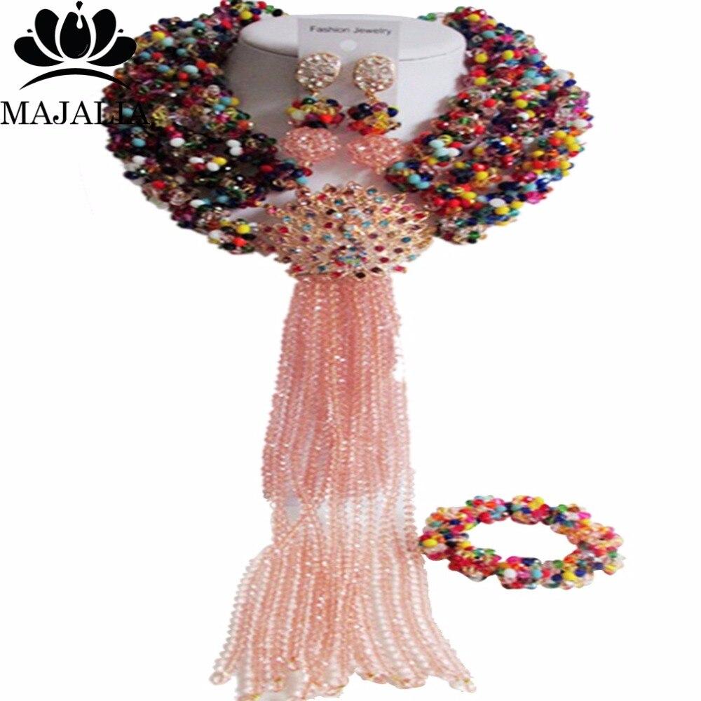 Majalia multicolore mode nigéria mariage perles africaines ensemble de bijoux collier de perles de cristal ensemble de bijoux de mariée CX-041