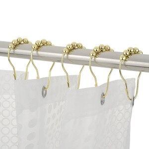 12 шт./компл., элегантные золотые крючки для занавесок для душа, вращающиеся шариковые кольца, устойчивые к ржавчине, крючки для занавесок для душа, домашняя ванная комната, основной крючок